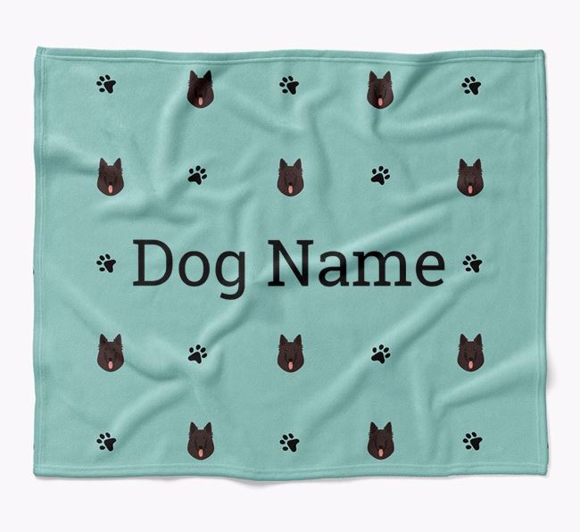 Personalized Blanket with Belgian Groenendael Icon Print