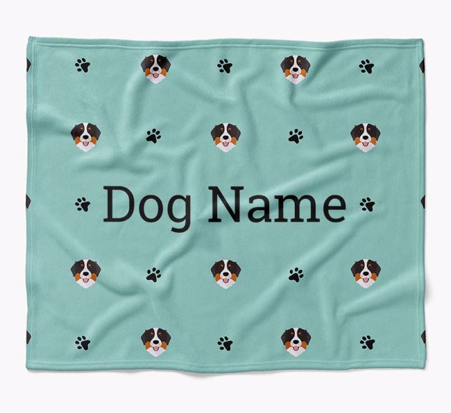 Personalized Blanket with Bernese Mountain Dog Icon Print