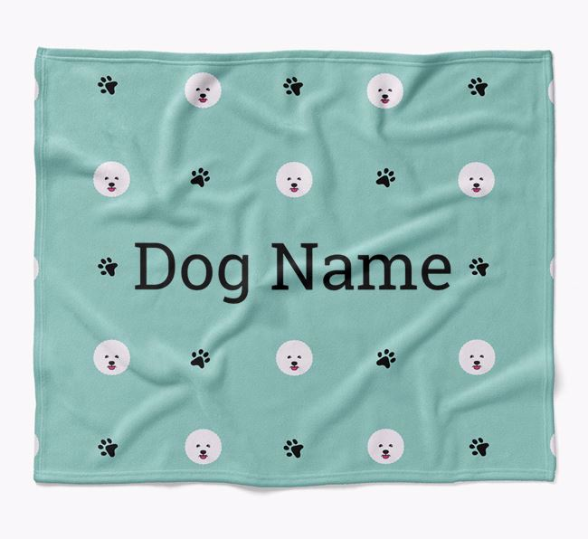 Personalized Blanket with Bichon Frise Icon Print