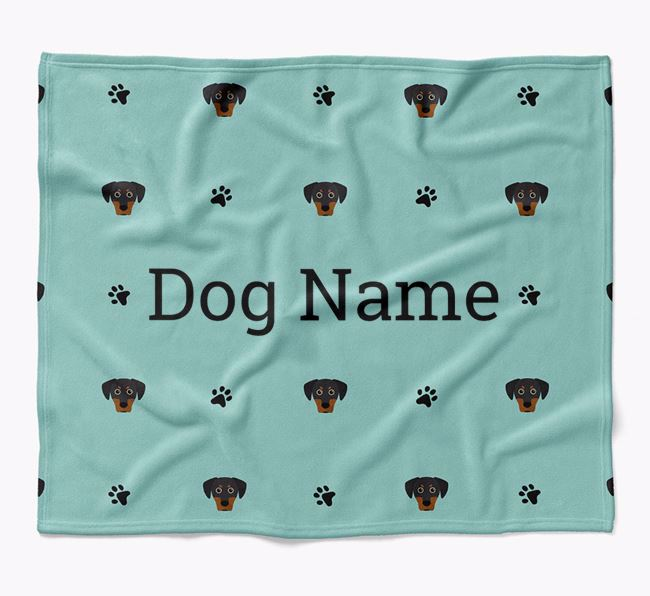 Personalized Blanket with Blue Lacy Icon Print