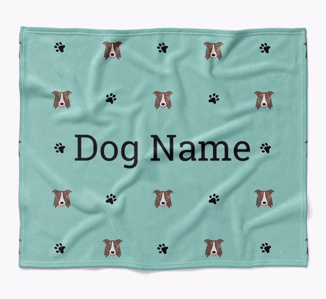 Personalized Blanket with Border Collie Icon Print