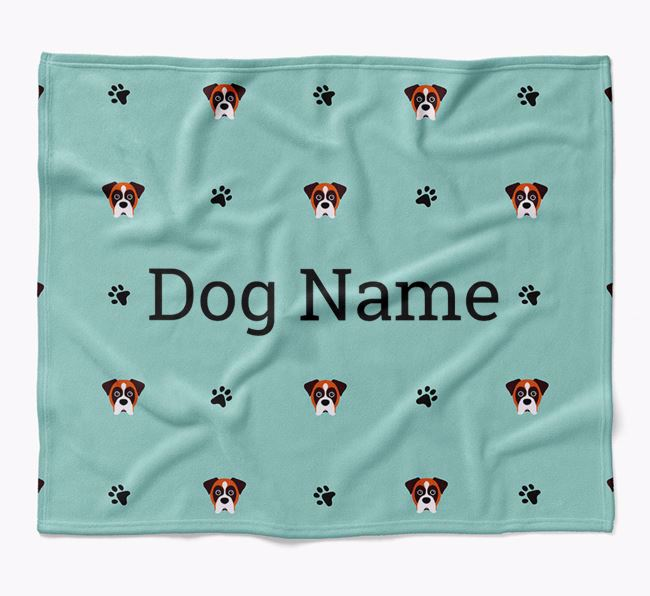 Personalized Blanket with Boxer Icon Print