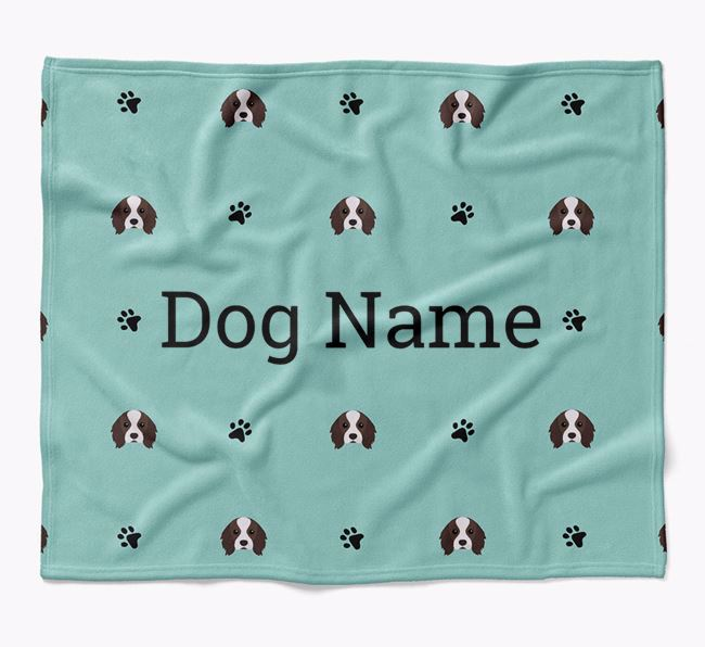 Personalized Blanket with Cavalier King Charles Spaniel Icon Print