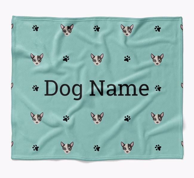 Personalized Blanket with Chihuahua Icon Print