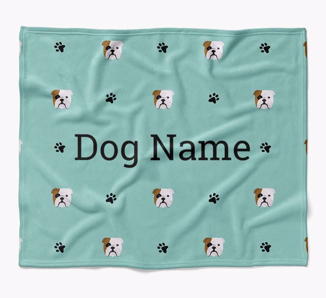 Personalized Blanket with English Bulldog Icon Print