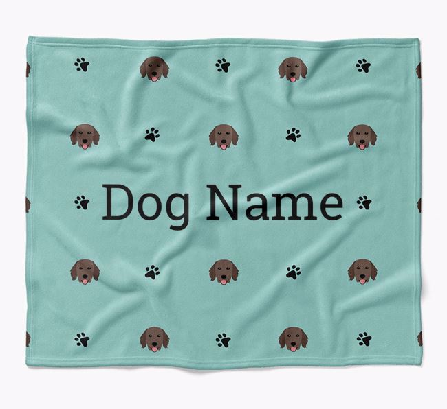 Personalized Blanket with Flat-Coated Retriever Icon Print
