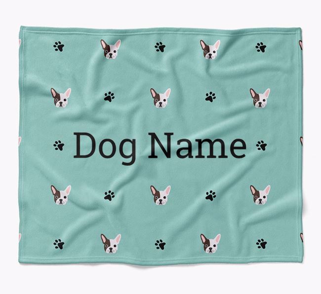 Personalized Blanket with French Bulldog Icon Print