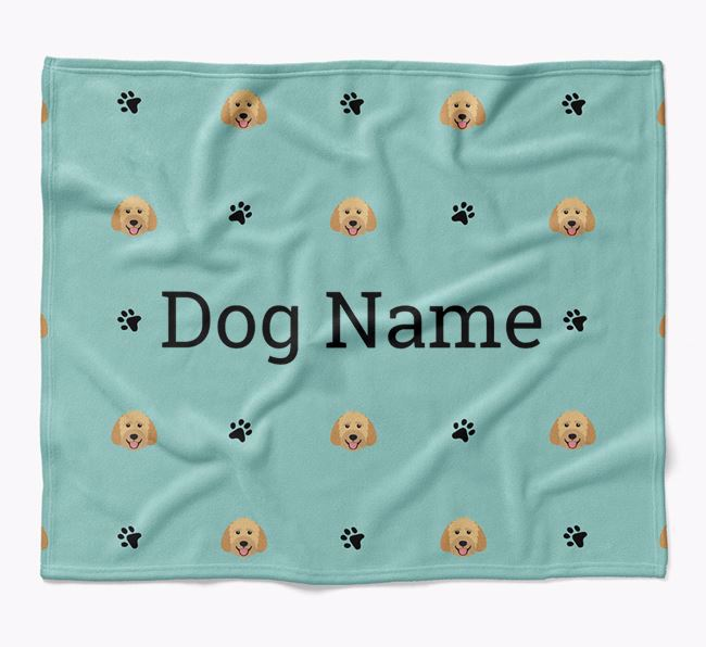 Personalized Blanket with Goldendoodle Icon Print