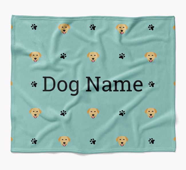 Personalized Blanket with Golden Labrador Icon Print