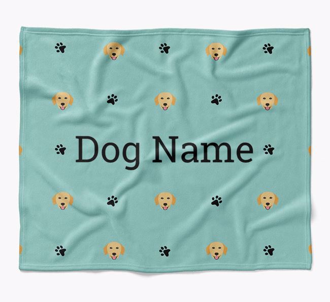 Personalized Blanket with Golden Retriever Icon Print