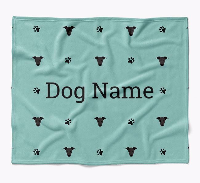Personalized Blanket with Greyhound Icon Print
