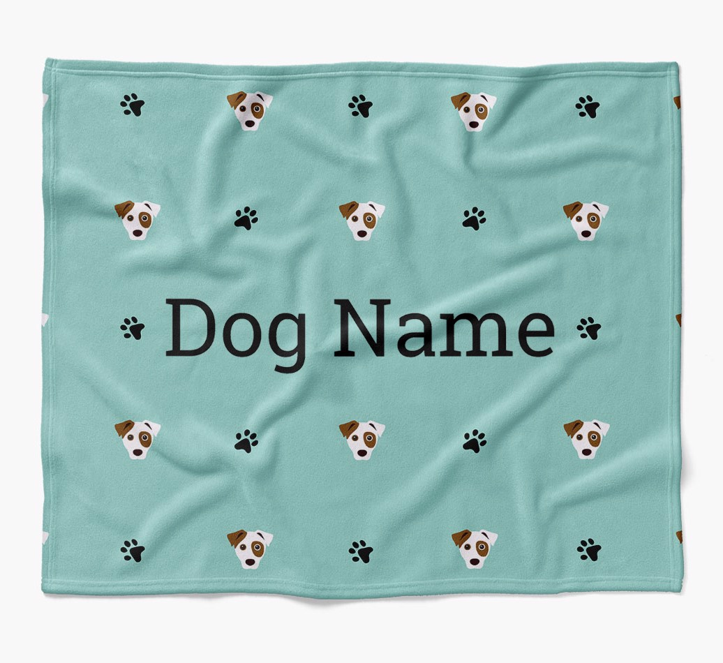 Personalized Blanket with Dog Icon Print in {colour} flat