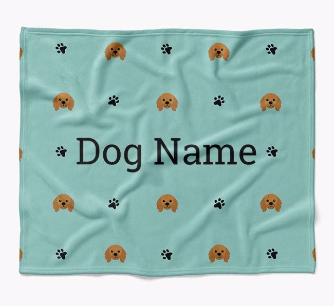 Personalized Blanket with King Charles Spaniel Icon Print