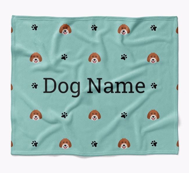 Personalized Blanket with Labradoodle Icon Print