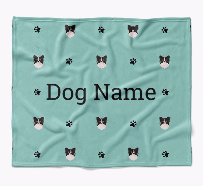 Personalized Blanket with Papillon Icon Print