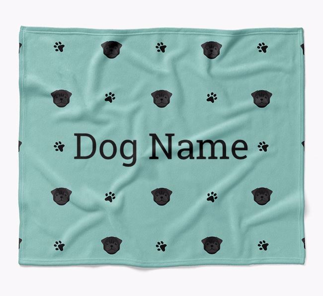 Personalized Blanket with Pug Icon Print