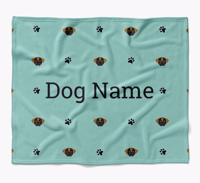 Personalized Blanket with Puggle Icon Print
