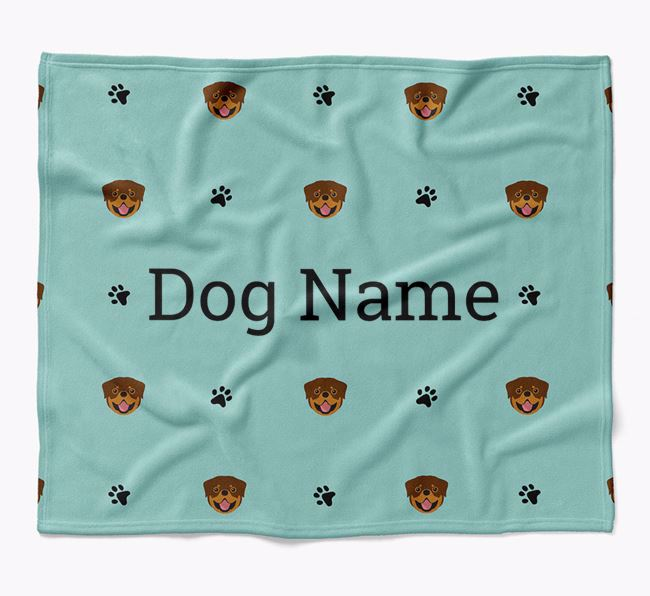 Personalized Blanket with Rottweiler Icon Print
