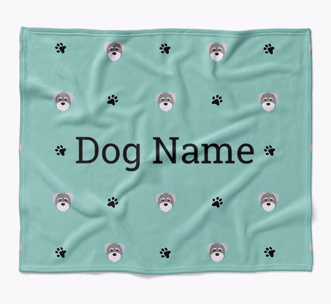 Personalized Blanket with Schnoodle Icon Print