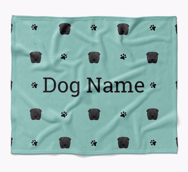 Personalized Blanket with Shar Pei Icon Print
