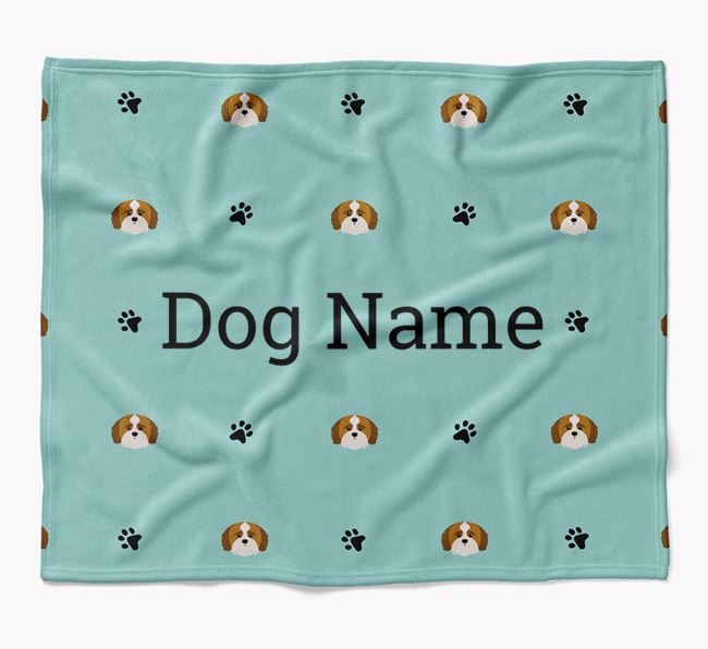 Personalized Blanket with Shih-poo Icon Print