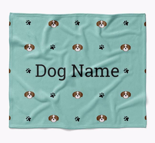 Personalized Blanket with Shih Tzu Icon Print
