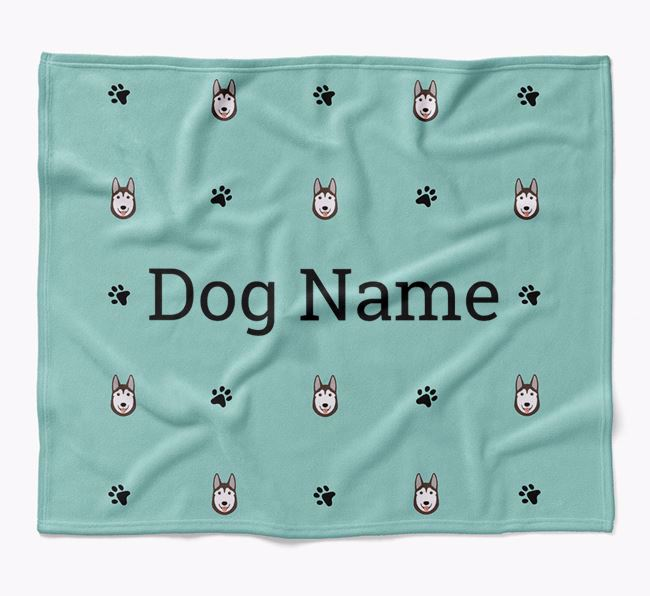 Personalized Blanket with Siberian Husky Icon Print