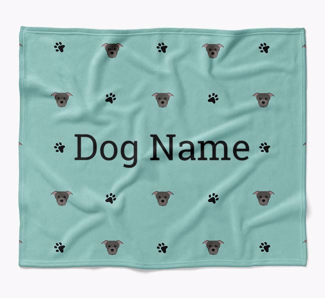 Personalized Blanket with Staffordshire Bull Terrier Icon Print