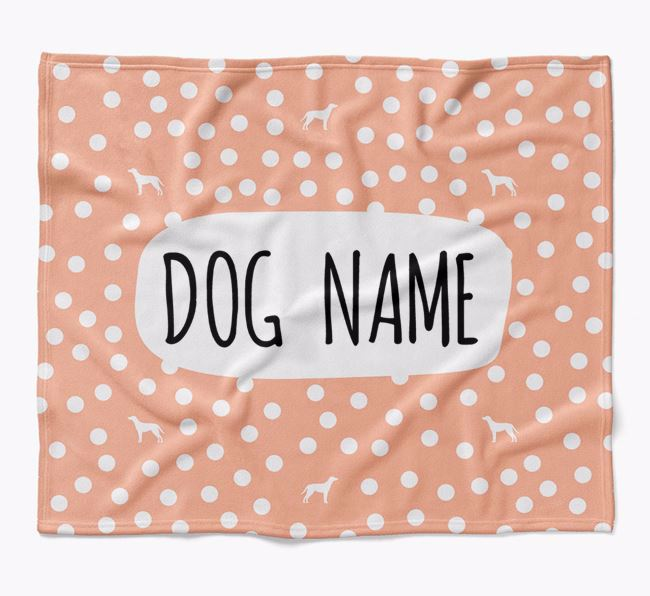 Personalized Spotty Blanket with Blue Lacy Silhouettes