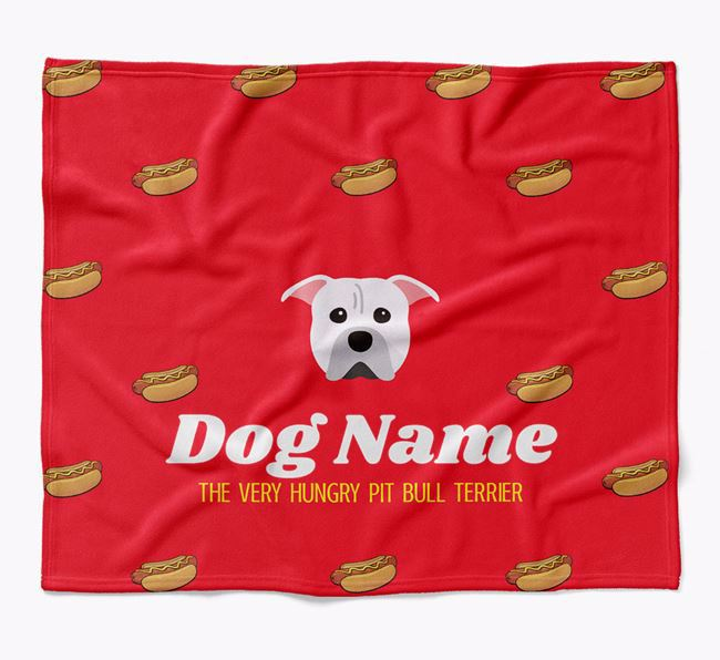 Personalized 'The Very Hungry American Pit Bull Terrier' Blanket with Hot-Dog Print