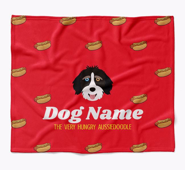 Personalized 'The Very Hungry Aussiedoodle' Blanket with Hot-Dog Print