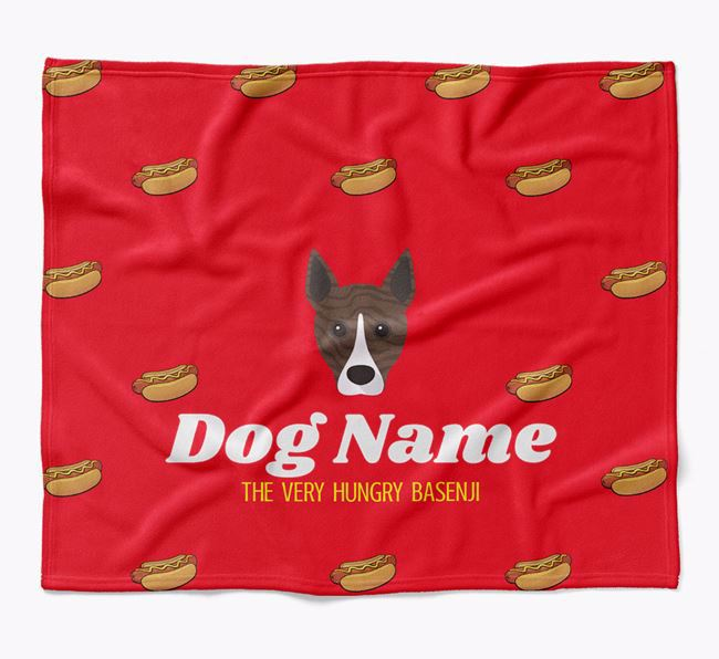 Personalized 'The Very Hungry Basenji' Blanket with Hot-Dog Print