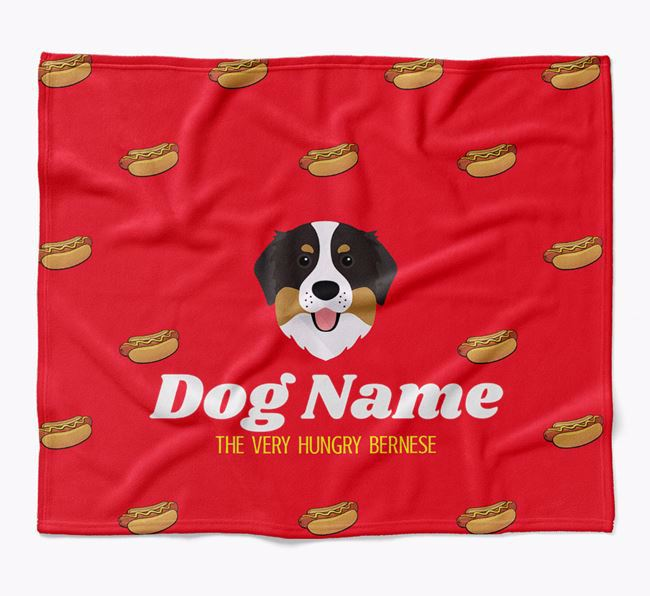 Personalized 'The Very Hungry Bernese Mountain Dog' Blanket with Hot-Dog Print