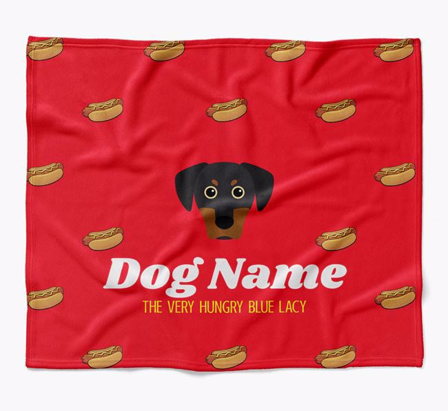 Personalized 'The Very Hungry Blue Lacy' Blanket with Hot-Dog Print