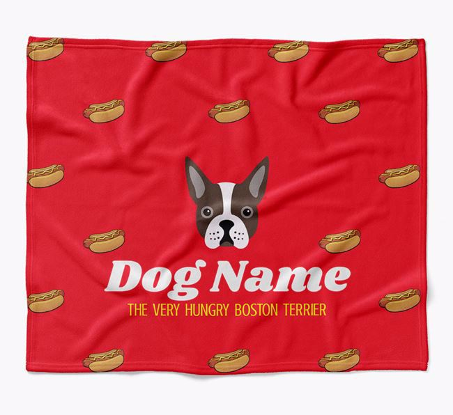Personalized 'The Very Hungry Boston Terrier' Blanket with Hot-Dog Print