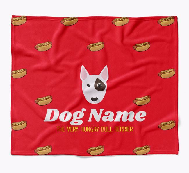 Personalized 'The Very Hungry Bull Terrier' Blanket with Hot-Dog Print