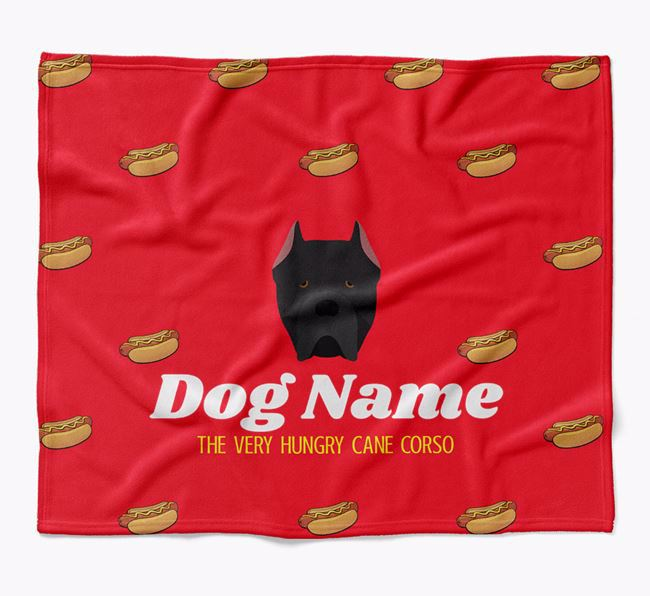 Personalized 'The Very Hungry Cane Corso Italiano' Blanket with Hot-Dog Print