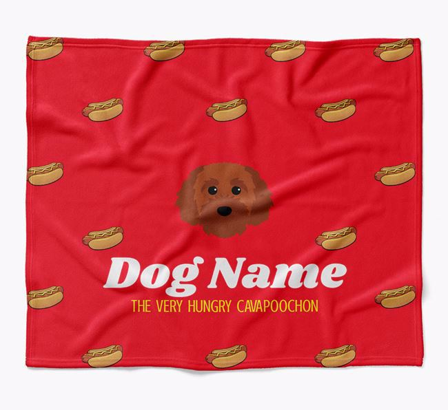 Personalized 'The Very Hungry Cavapoochon' Blanket with Hot-Dog Print