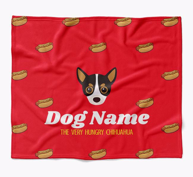 Personalized 'The Very Hungry Chihuahua' Blanket with Hot-Dog Print