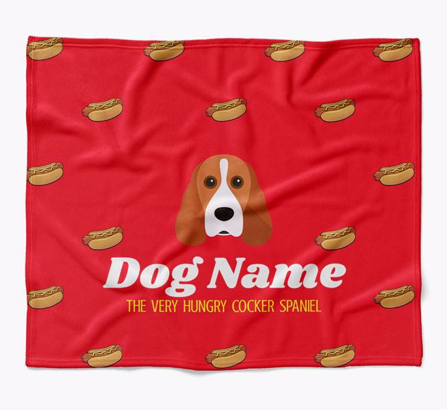 Personalized 'The Very Hungry Cocker Spaniel' Blanket with Hot-Dog Print