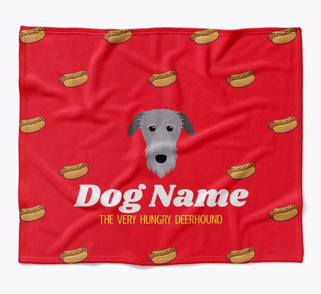 Personalized 'The Very Hungry Deerhound' Blanket with Hot-Dog Print