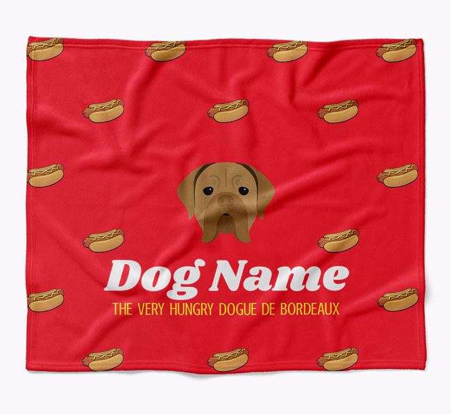 Personalized 'The Very Hungry Dogue de Bordeaux' Blanket with Hot-Dog Print