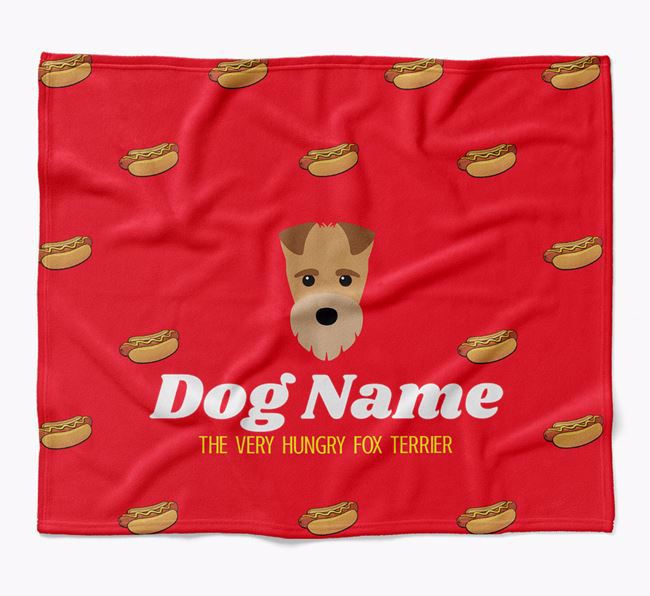 Personalized 'The Very Hungry Fox Terrier' Blanket with Hot-Dog Print