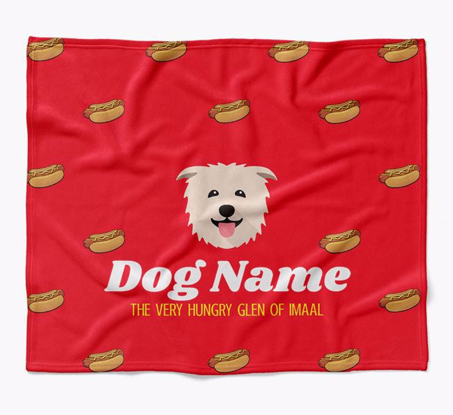 Personalized 'The Very Hungry Glen Of Imaal Terrier' Blanket with Hot-Dog Print