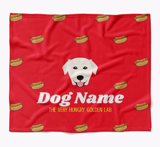 Personalized 'The Very Hungry Golden Labrador' Blanket with Hot-Dog Print