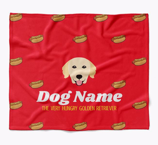 Personalized 'The Very Hungry Golden Retriever' Blanket with Hot-Dog Print