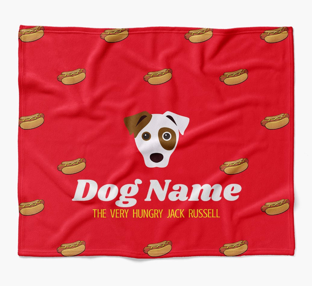 Personalized 'The Very Hungry' Dog Hot-Dog Print Blanket in {colour} flat