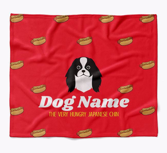 Personalized 'The Very Hungry Japanese Chin' Blanket with Hot-Dog Print