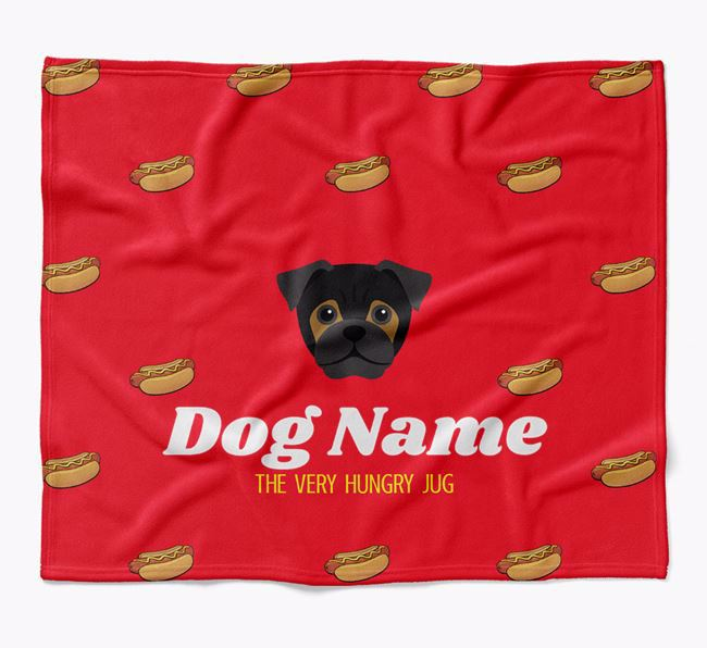 Personalized 'The Very Hungry Jug' Blanket with Hot-Dog Print