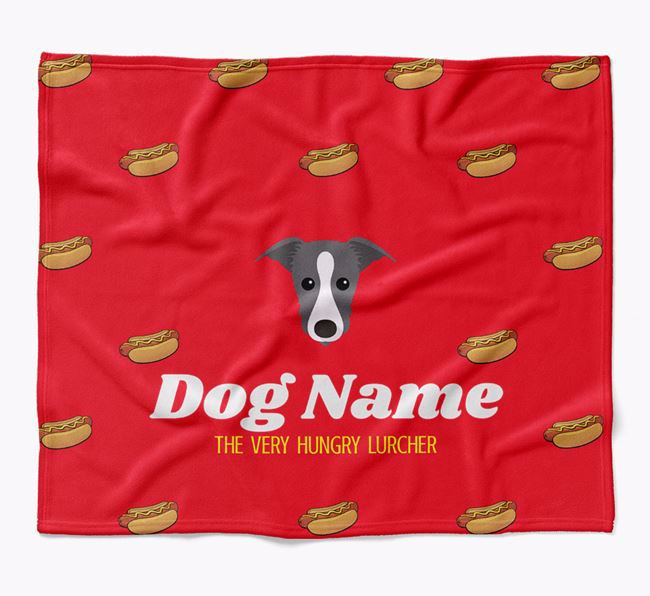 Personalized 'The Very Hungry Lurcher' Blanket with Hot-Dog Print